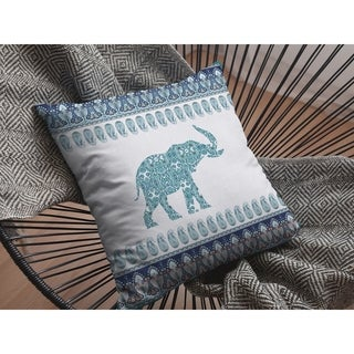 Elephant Made of Paisley Suede Double Sided Decorative Pillow by Amrita Sen