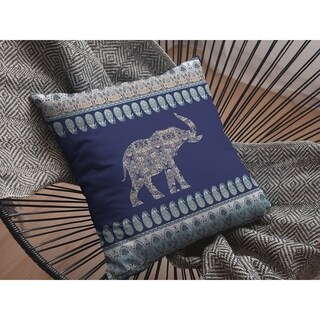 Paisley Elephant Alone Double Sided Decorative Pillow by Amrita Sen
