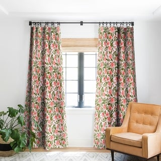 Deny Designs Pink Botanical Pattern Blackout Curtain Panel (2 Size Options)