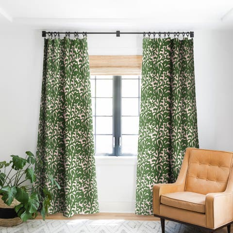 Deny Designs Lush Rosehip Green Pink Blackout Curtain Panel (2 Size Options)
