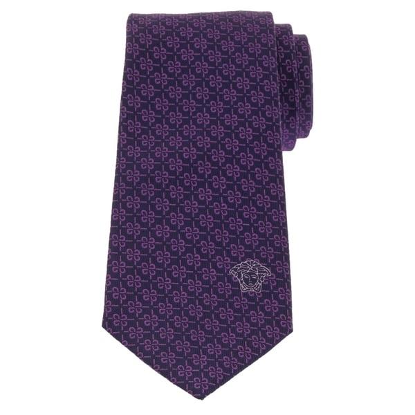 Versace Mens Geometric Pattern Silk Tie