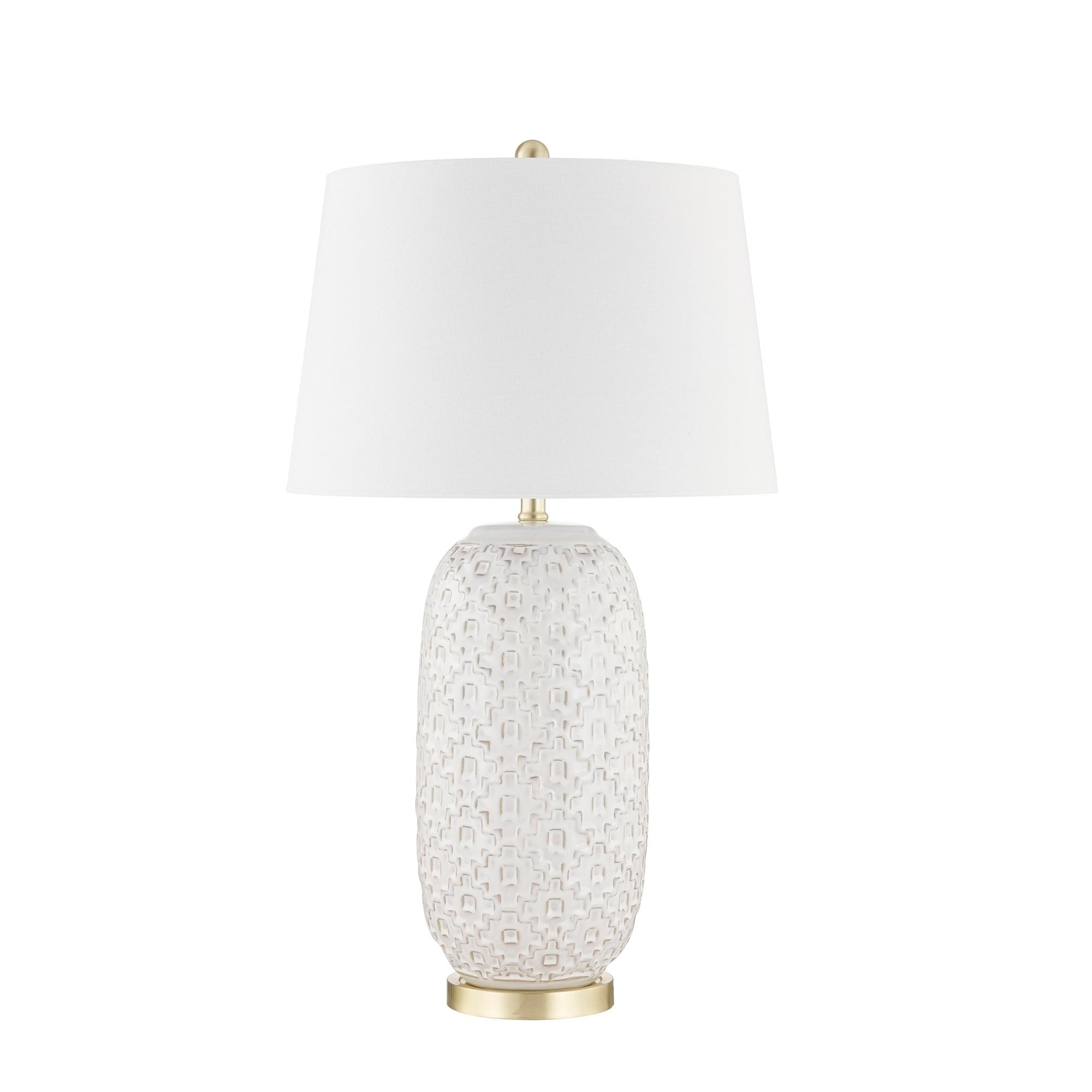 Ceramic 31 Textured Table Lamp Cream Overstock 28369164