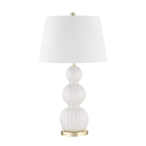 """Ceramic 31"""" Triple Gourd Table Lamp, Cream"""