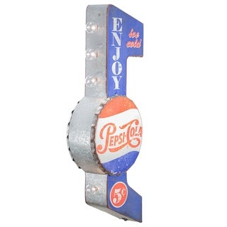 Officially Licensed Enjoy Ice Cold Pepsi-Cola Double Sided Off the Wall LED Marquee Light Up Sign for Bar, Garage or Man Cave