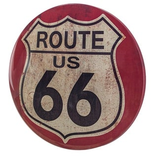 "Officially Licensed Route 66 Dome Shaped Metal Sign Wall Decor for Bar, Garage or Man Cave (15"") - N/A"