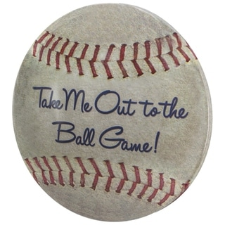 "Take Me Out to the Ball Game Dome Shaped Metal Baseball Sign Wall Decor for Bar, Garage or Man Cave (15"")"