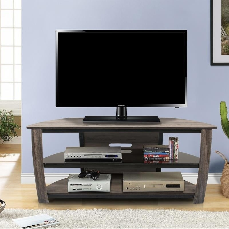 Shop Living Essentials Norwalk Contemporary 55 2 Shelf Tv Stand For Living Room Bedroom Office Grayson Olive 55 Inches Overstock 28369469