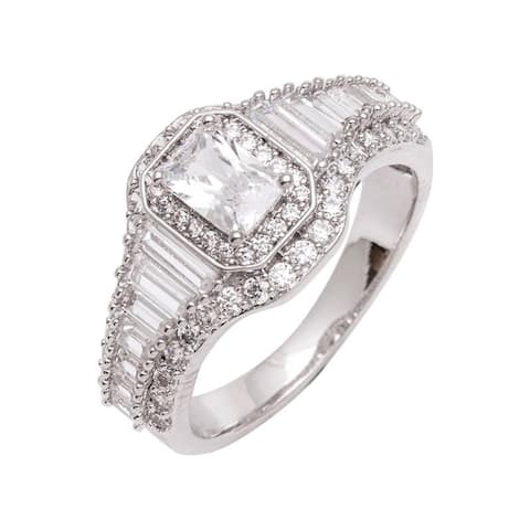Emerald Cut Center CZ Engagement/Bridal Inspired Silver Ring by Simon Frank Designs