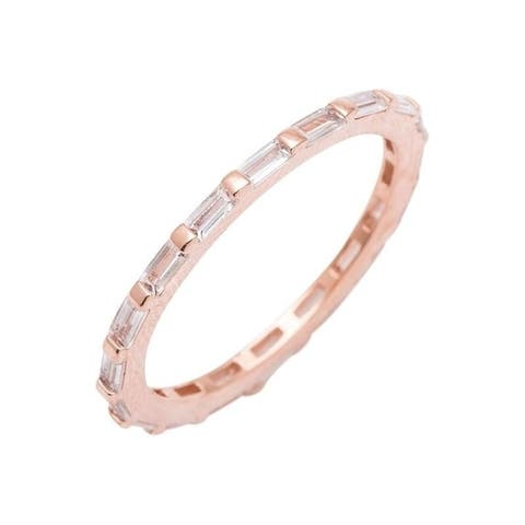 Baguette Cut CZ Eternity Band Rose/Silver Overlay by Simon Frank Designs
