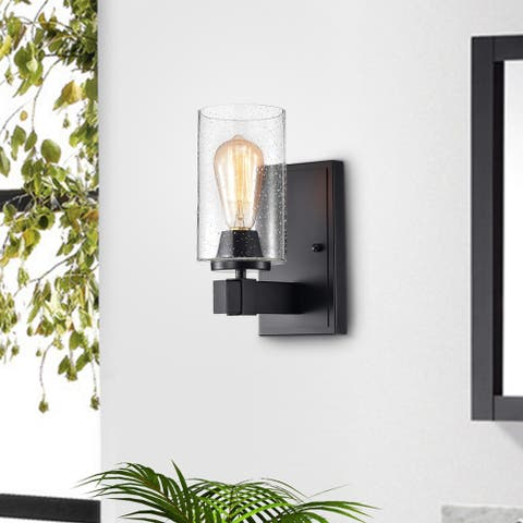 Alina Matte Black 1-light Wall Sconce with Bubble Glass Shades