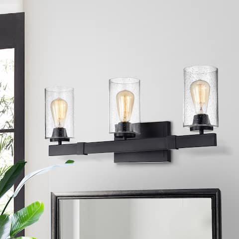 Melchie Matte Black 3-light Wall Sconce with Bubble Glass Shades
