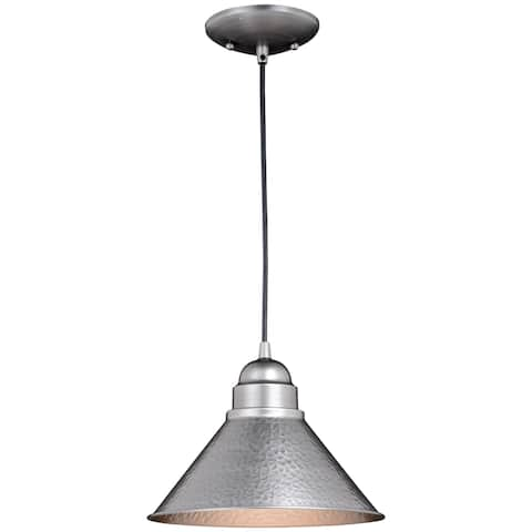 Outland 1 Light Pewter Farmhouse Outdoor Barn Dome Pendant - 10-in W x 7.5-in H x 10-in D