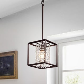 Guslaw Brushed Red Bronze 1-light Pendant with Crystal Shade