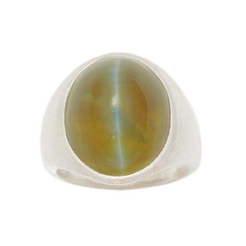 Platinum 1970's Cats Eye Pinky Ring