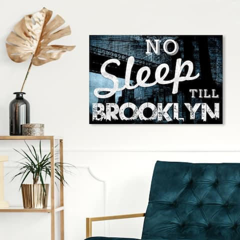 Oliver Gal 'No Sleep Till Brooklyn' Typography and Quotes Wall Art Canvas Print - Blue, White