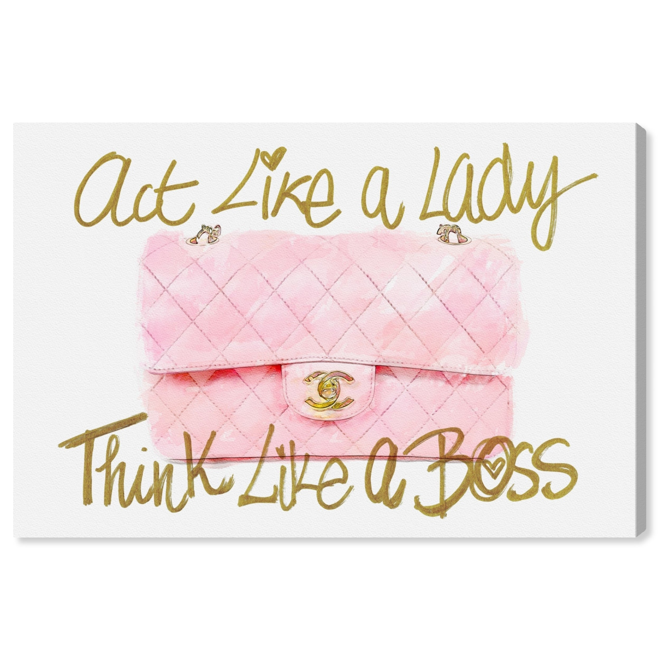 Oliver Gal \'Like a Lady Boss \' Typography and Quotes Wall Art Canvas Print  - Pink, Gold