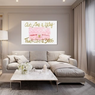 Oliver Gal 'Like a Lady Boss ' Typography and Quotes Wall Art Canvas Print - Pink, Gold