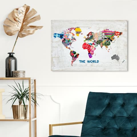 Oliver Gal 'Hipster Mapa Mundi' Maps and Flags Wall Art Canvas Print - White, Pink