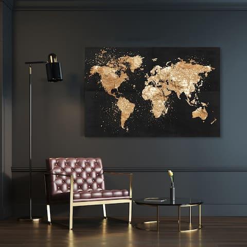 Oliver Gal 'Mapamundi on the Rocks Night' Maps and Flags Wall Art Canvas Print - Black, Gold