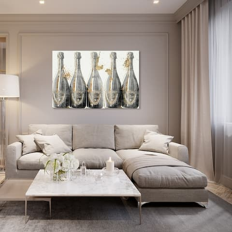 Oliver Gal 'Dom Marbles' Drinks and Spirits Wall Art Canvas Print - Gray, Gold
