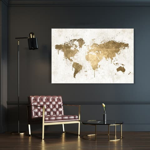 Oliver Gal 'Mapamundi White Gold' Maps and Flags Wall Art Canvas Print - Gold, White