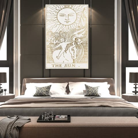 Oliver Gal 'The Sun Tarot Luxe' Astronomy and Space Wall Art Canvas Print - Gold, White