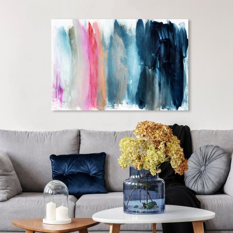 Oliver Gal 'Parque del Retiro' Abstract Wall Art Canvas Print - Blue, Pink
