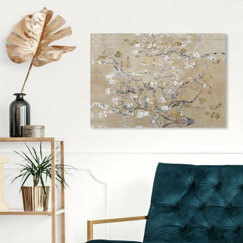 Oliver Gal 'Van Gogh in Gold Blossoms Inspiration' Classic and Figurative Wall Art Canvas Print - Gold, Gray