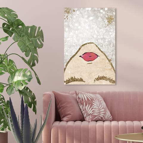 Oliver Gal 'Glitter Coveted Girl' Fashion and Glam Wall Art Canvas Print - Gold, Gray