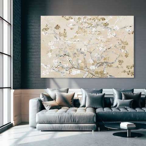 Oliver Gal 'Van Gogh in Golden Blossoms Inspiration' Floral and Botanical Wall Art Canvas Print - Gold, White
