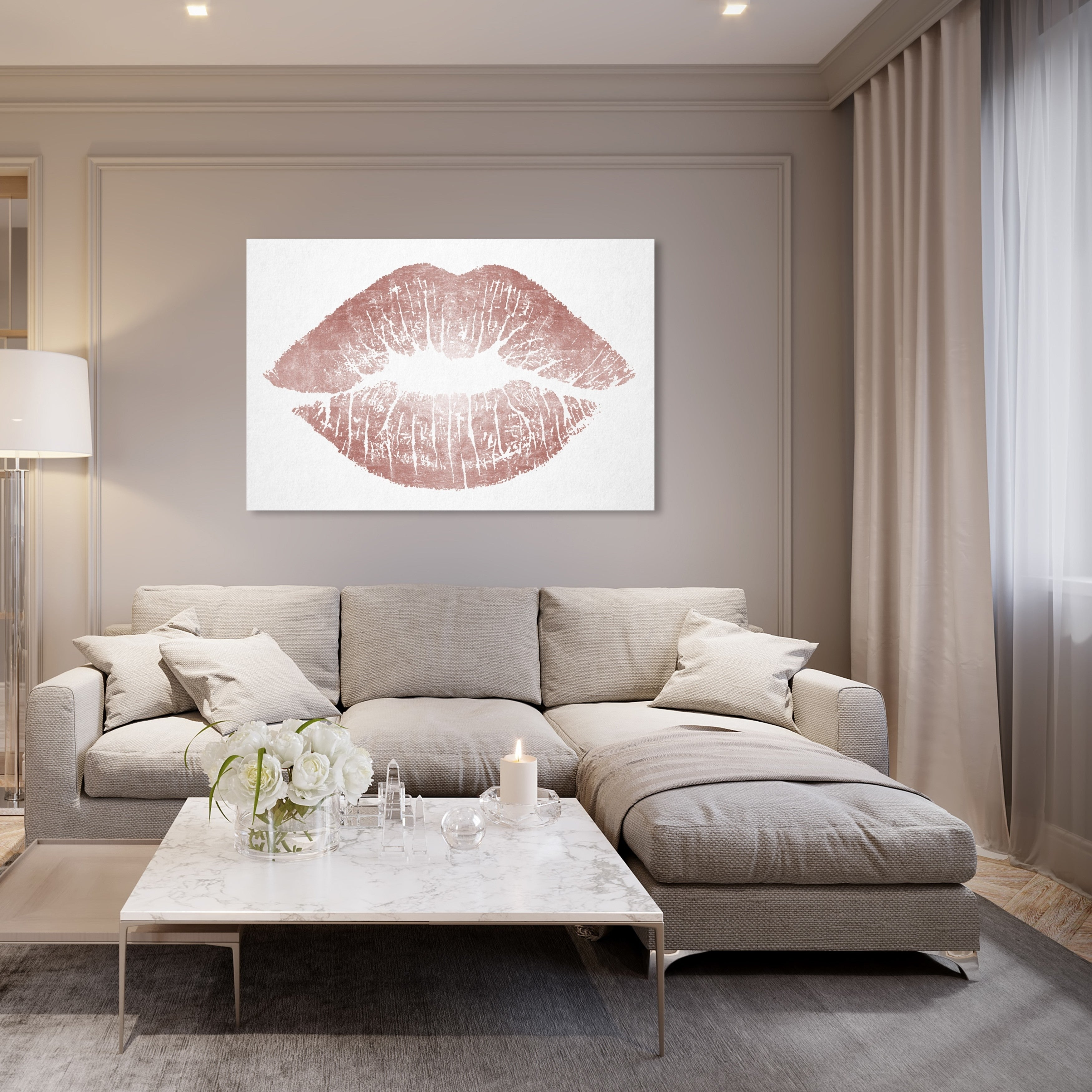 Oliver Gal Rose Gold Solid Kiss Fashion And Glam Wall Art Canvas Print Pink White On Sale Overstock 28370005