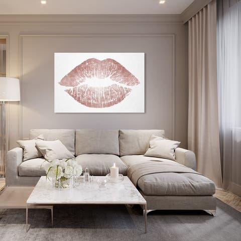 Oliver Gal 'Rose Gold Solid Kiss' Fashion and Glam Wall Art Canvas Print - Pink, White