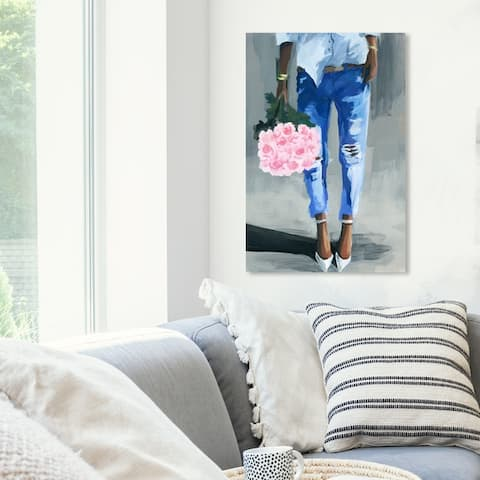 Oliver Gal 'Me and My Bouquet' Fashion and Glam Wall Art Canvas Print - Pink, Blue