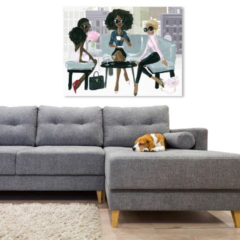 Oliver Gal 'Cocktail O'Clock' Drinks and Spirits Wall Art Canvas Print - Pink, Gray