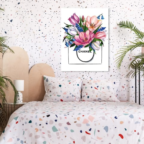 Oliver Gal 'Doll Memories - Tulip Shopping' Floral and Botanical Wall Art Canvas Print - Pink, White
