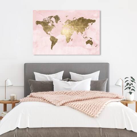 Oliver Gal 'Blush Mapamundi' Maps and Flags Wall Art Canvas Print - Pink, Gold