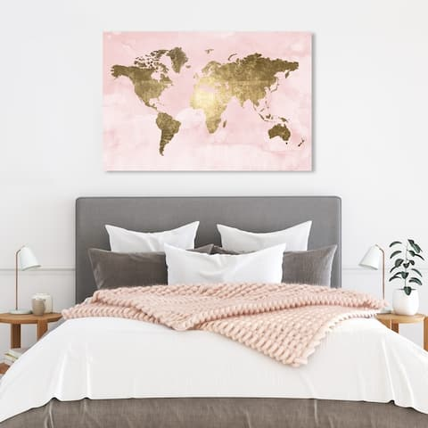 Oliver Gal 'Blush Mapamundi' Maps and Flags Wall Art Canvas Print - Pink, Gold