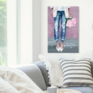 Oliver Gal 'Fashion Blogger Flowers' Fashion and Glam Wall Art Canvas Print - Blue, Pink