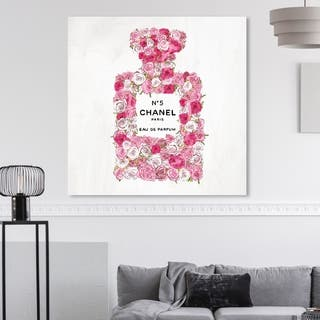 Oliver Gal 'Number 5 Rose II ' Fashion and Glam Wall Art Canvas Print - Pink