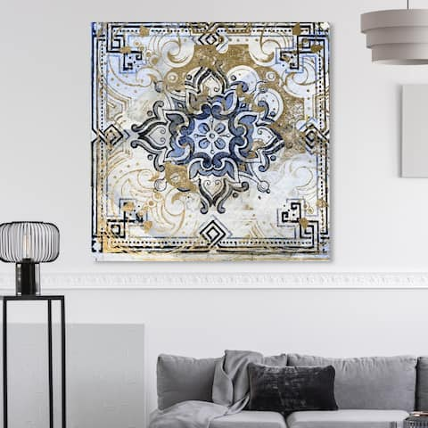 Oliver Gal 'Azulia II' Abstract Wall Art Canvas Print - Blue, Gold