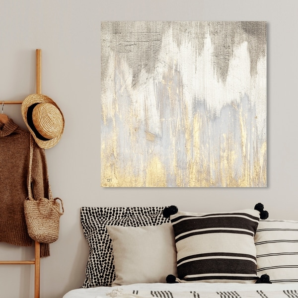 Oliver Gal 'Golden Caves' Abstract Wall Art Canvas Print - Gray, Gold. Opens flyout.