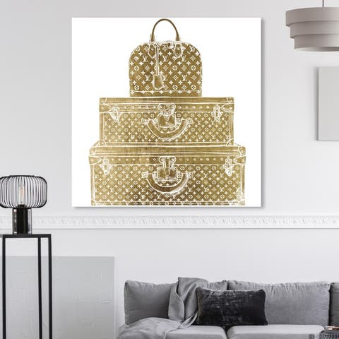 Oliver Gal 'Royal Bag and Luggage Gold diecut' Fashion and Glam Wall Art Canvas Print - Gold, White