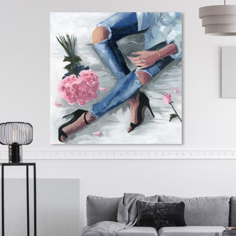 Oliver Gal 'Romantic Jeans' Fashion and Glam Wall Art Canvas Print - Blue, Pink