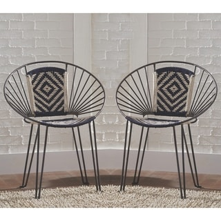 Contemporary Gunmetal Bohemian Design Accent Chair (Set of 2)