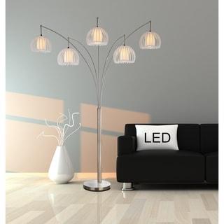 "Artiva Jellyfish 89"" 5-Arc Brushed Steel Nickel LED Floor Lamp w/ Dimmer"