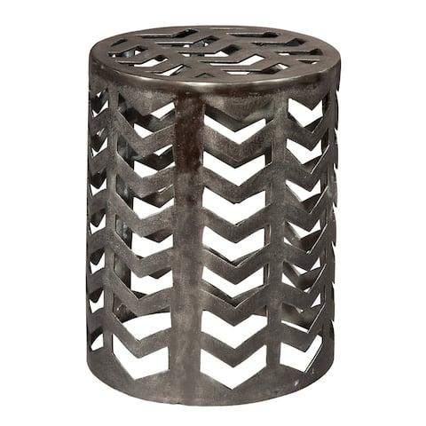 Round Aluminum Drum Stool Accent Table - Hekman