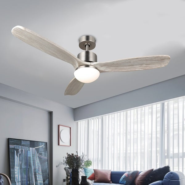 """CO-Z 52"""" 3-Blade LED Ceiling Fan w Solid Wood Blades, Remote Control, Light Kit. Opens flyout."""