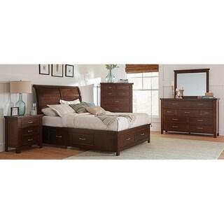 Maeve Pinot Noir 4-piece Storage Bedroom Set with 2 Nightstands