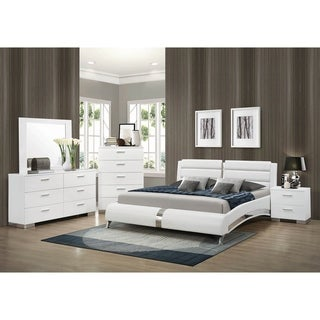 Caledonia Glossy White 4-piece Platform Bedroom Set with 2 Nightstands