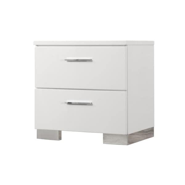 Caledonia Glossy White 3-piece Platform Bedroom Set with Dresser